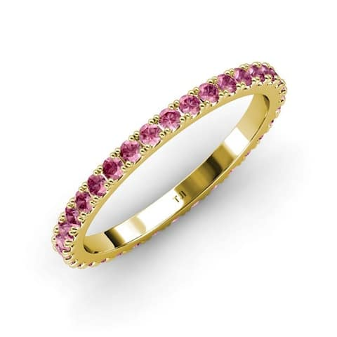 TriJewels Pink Tourmaline French Set Women Eternity Ring Stackable 14K Gold