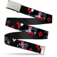 "Blank Chrome 1.0"" Buckle Harley Quinn Shooting Poses Diamonds Black Red Web Belt 1.0"" Wide - S"