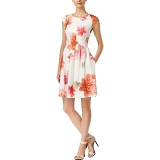 Calvin Klein Womens Petites Casual Dress Scuba Floral Print