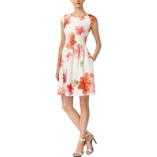 Calvin Klein Womens Petites Casual Dress Scuba Floral Print