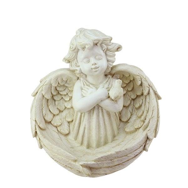 """9.5"""" Heavenly Gardens Distressed Ivory Cherub Angel Outdoor Patio Garden Statue Bird Feeder"""
