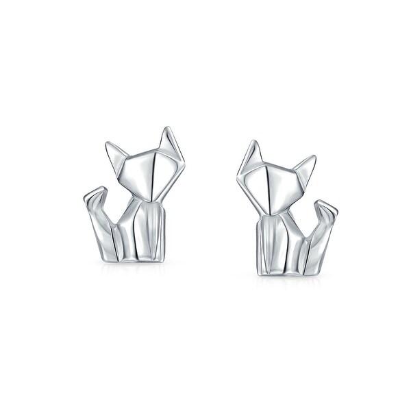 d99ca45f0 Tiny Geometric 3D Origami Cat Pet Kitten Kitty Stud Earrings For Women For  Teen Polished Finish