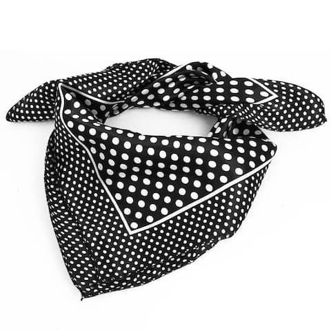 Women Polyester Fashion Round Dot Square Scarf Wrap Black White