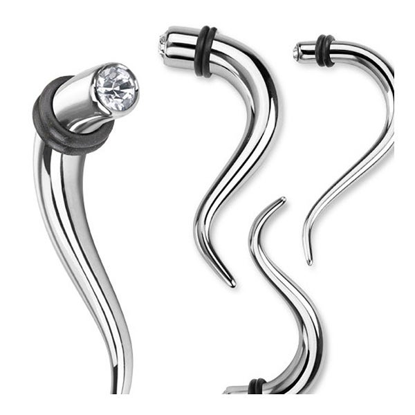 Single CZ Paved Double Curve Hanging 316L Surgical Steel Taper (Sold Individually)