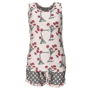 Sag Harbor Women's Plus Size Paris Tank and Shorts Pajama Set
