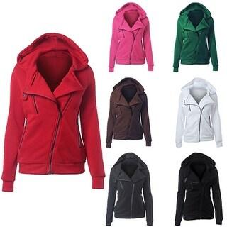 Women Fashion Casual Sports Winter Warm Side Zipper Sweatshirt Hoodie Jacket