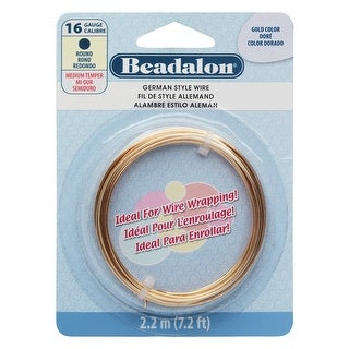 Beadalon Craft Wire, German Style Round Copper Wire 16 Gauge, 7.2 Feet, Gold Color