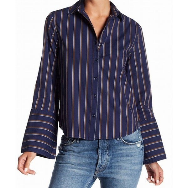 28ee832b Shop Abound NEW Blue Womens Size XXS Striped Bell-Sleeve Button Down Shirt  - Free Shipping On Orders Over $45 - Overstock - 20960815