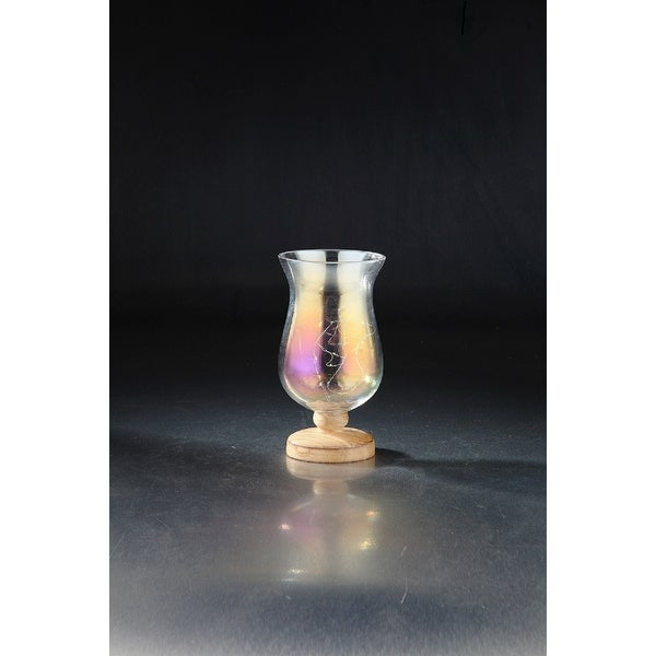 """8.5"""" Purple and Golden Color Luster Finish Handblown Glass Candle Holder - N/A"""