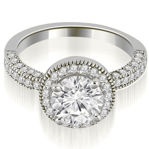 1.35 cttw. 14K White Gold Halo Round Cut Diamond Engagement Ring