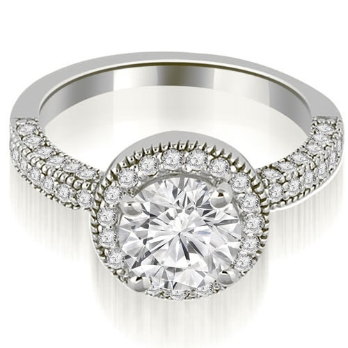 1.60 cttw. 14K White Gold Halo Round Cut Diamond Engagement Ring