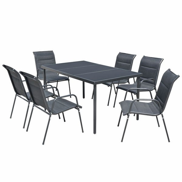 Safavieh Outdoor Living Cooley Black White Dining Set 5: Shop VidaXL Outdoor Dining Set Table And Chairs 7 Piece