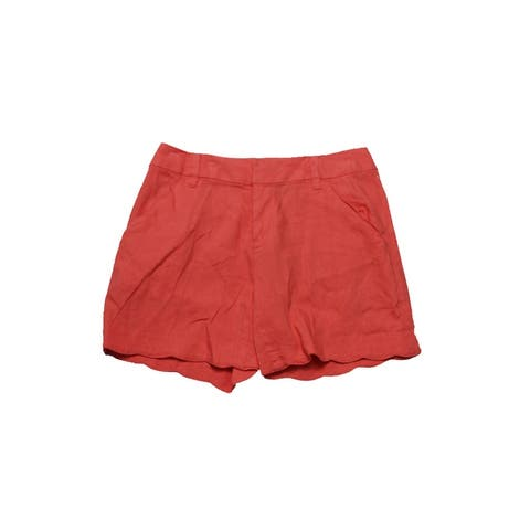 Inc International Concepts Rose Coral Linen-Blend Scalloped Shorts 0
