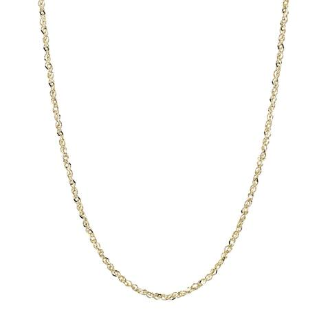 14K Yellow Gold Rope Chain Necklace 0.9mm, 16-20""