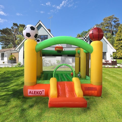 ALEKO Inflatable Bounce House with Basketball Rim, Soccer Arena, Volleyball Net, and Slide