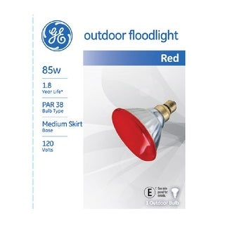GE 13472 Par 38 Outdoor Colored Floodlight Bulb, 85 Watts, Red