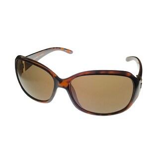 Ellen Tracy Womens Sunglass ET544 1 Tortoise Rectangle Plastic, Brown Lens - Medium