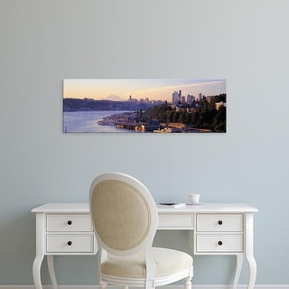 Easy Art Prints Panoramic Images's 'Sunrise, Lake Union, Seattle, Washington State, USA' Premium Canvas Art