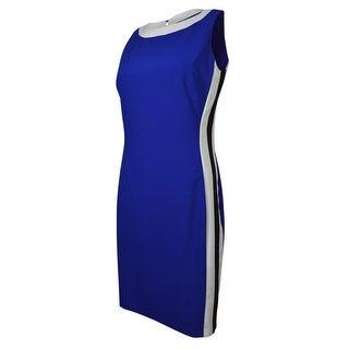 Ralph Lauren Women's Contrast Side Sleeveless Sheath Dress - Cobalt/Black