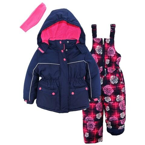 Pink Platinum Toddler Girls Super Snowsuit Ski Jacket Snowboard Floral Ski Bib