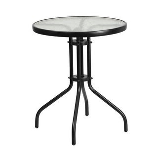 Skovde Round 23.75'' Tempered Glass Metal Table for Patio/Bar