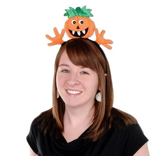 Club Pack of 12 Halloween Pumpkin Snap-On Headband Party Favor Costume Accesories