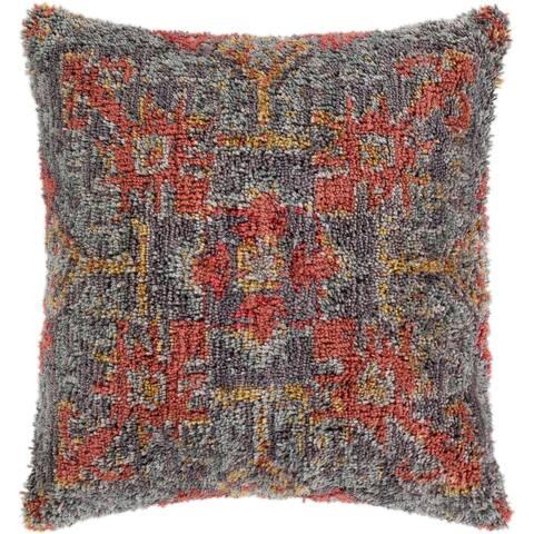 "Dakoto Medium Grey & Orange Bohemian Shag Poly Fill Throw Pillow (18"" x 18"")"