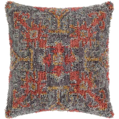 "Dakoto Medium Grey & Orange Bohemian Shag Throw Pillow Cover (18"" x 18"")"
