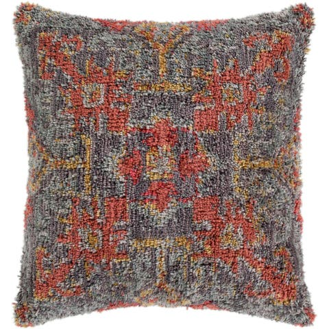 "Dakoto Medium Grey & Orange Bohemian Shag Throw Pillow Cover (20"" x 20"")"