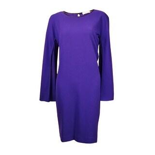 Calvin Klein Women's Faux Leather Trim Angel Sleeve Shift Dress - byzantine