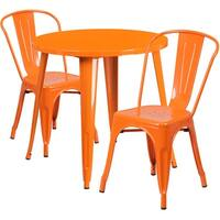 Brimmes 3pcs Round 30'' Orange Metal Table w/2 Cafe Chairs