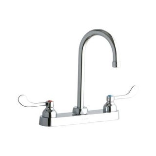 """Elkay LK810GN05T4 ADA 8"""" Centerset Exposed Deck Food Service Faucet with 5-1/8"""" Reach Gooseneck Spout and 4"""" Blade Handles"""