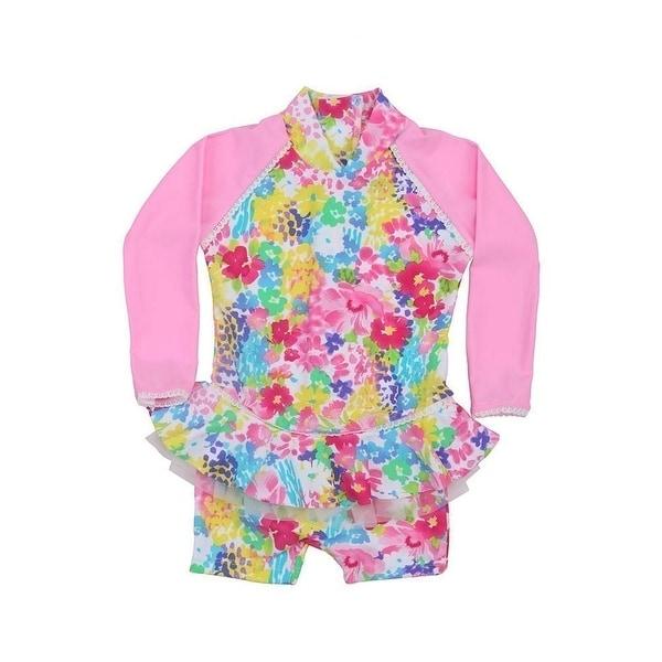 Sun Emporium Baby Girls Pink Monet Floral Frill Long Sleeve Sun Suit - 6-12 months