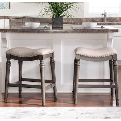 Copper Grove Barmstedt Grey Counter Stool with Saddle Seat - N/A