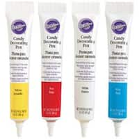 Red; Yellow; White & Blue - Candy Decorating Pens 1.25Oz 4/Pkg