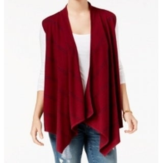 Tommy Hilfiger NEW Red Womens Size Large L Open-Front Drape Vest Sweater