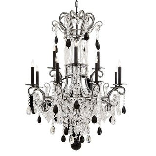 Metropolitan N951862 Crystal Twelve Light Two Tier Chandelier with Black Accents from the Crystal Collection