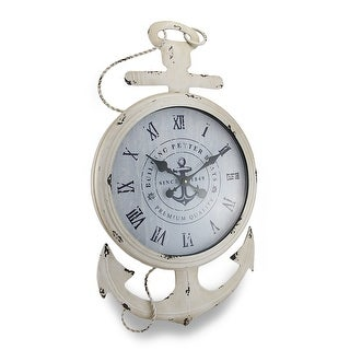 Weathered White Finish Nautical Anchor Large Metal Wall Clock - 30.5 X 17 X 2 inches