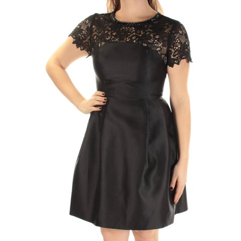 JESSICA SIMPSON Womens Black Short Sleeve Jewel Neck Above The Knee Fit + Flare Party Dress Size: 8