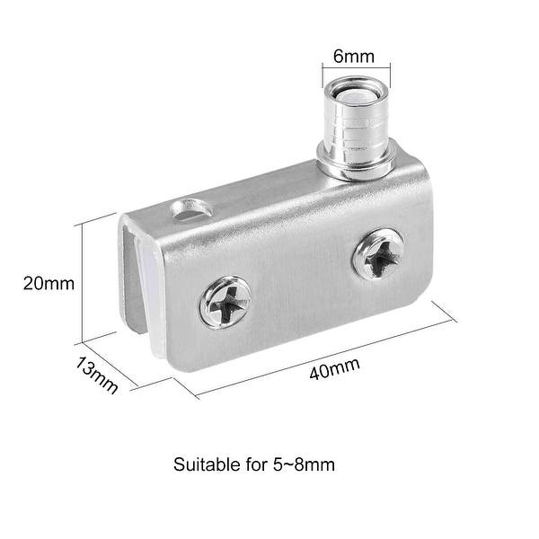 2 Pair uxcell Glass Hinge Stainless Steel Glass Door Pivot Hinge Glass Clamp Silver Tone 70x18x33mm