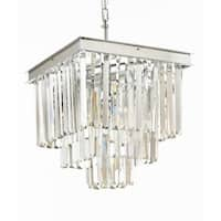 Retro Palladium Crystal Glass Fringe 3 Tier Chandelier Silver Chrome