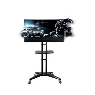 FLEXIMOUNTS Mobile Rolling TV Cart LCD Stand for 32''-65'' Flat Screen with DVD Shelf & Locking Caster Wheels