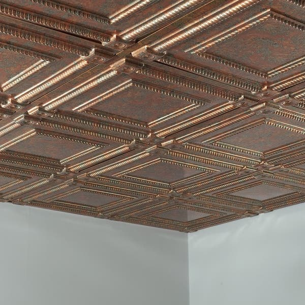 Fasade Coffer Decorative Vinyl 2ft X 2ft Lay In Ceiling Tile In Copper Fantasy 5 Pack Overstock 32201724