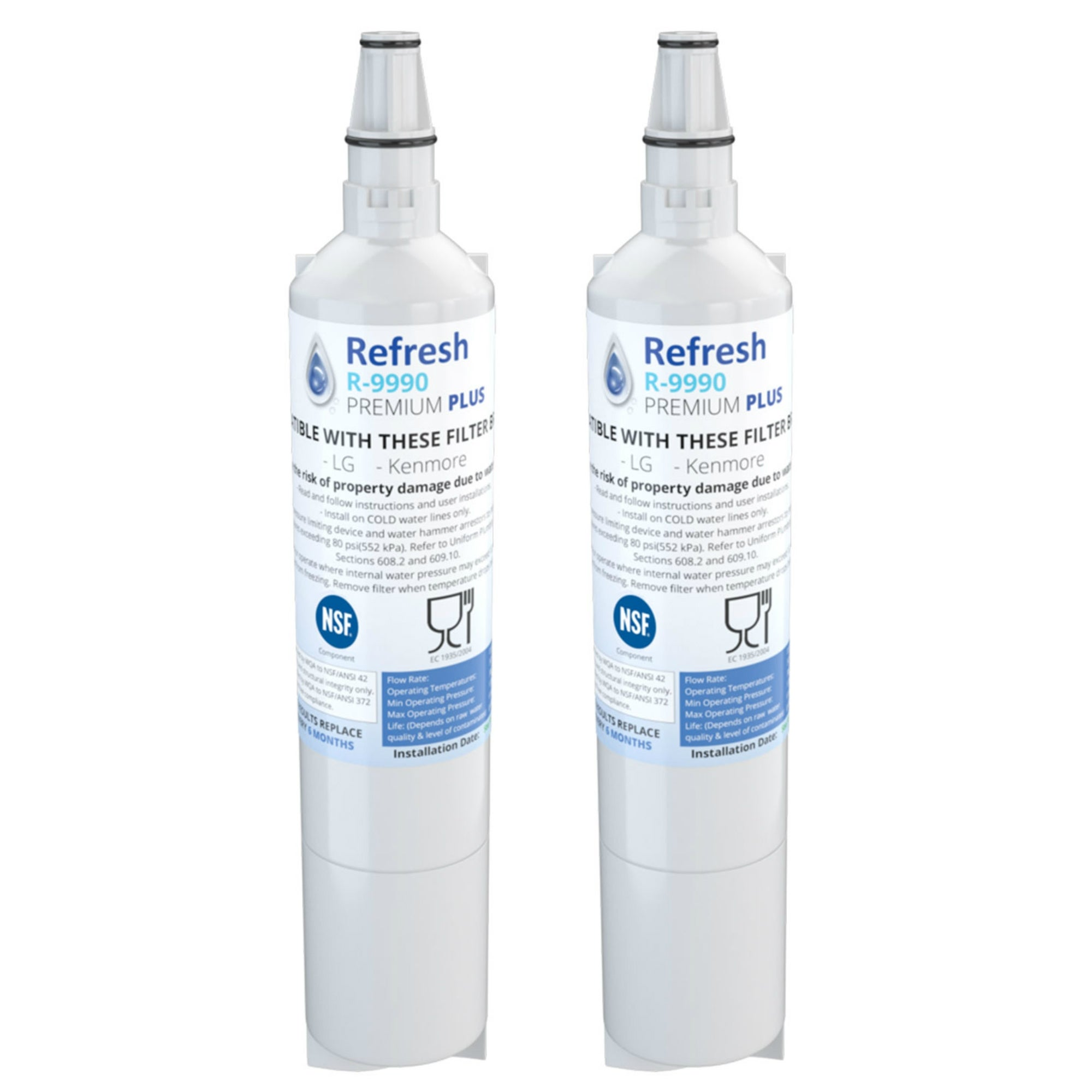 2 Pack Fits LG LSC27931SW Refrigerators Refresh Replacement Water Filter