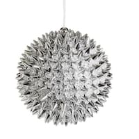 "4"" Silver Beaded Spiky Christmas Ball Ornament (100mm)"