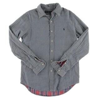 Ralph Lauren Mens Button-Down Shirt Chambray Double-Faced - M