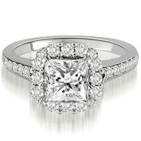 0.92 CT.TW Halo Princess And Round Cut Diamond Engagement Ring in 14KT Gold - White H-I