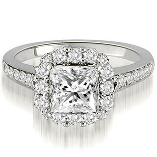1.17 CT.TW Halo Princess And Round Cut Diamond Engagement Ring in 14KT Gold - White H-I