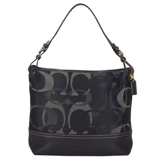 Coach Optic Signature Shoulder Tote Handbag in Black
