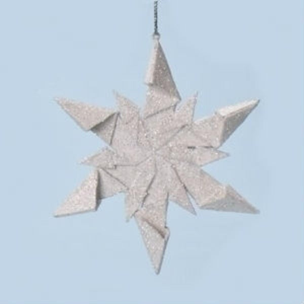 "4"" Holy Night Origami Style Ninja Star Glittered Snowflake Christmas Ornament - silver"